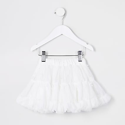 Mini girls white floral TuTu skirt