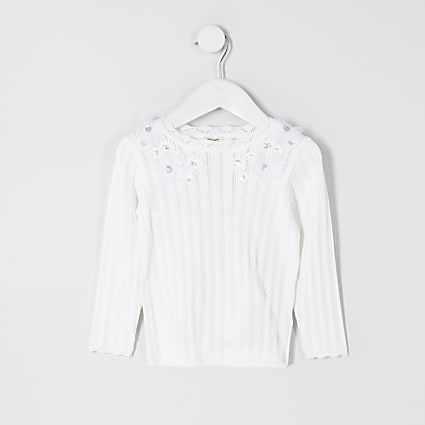 Mini girls white flower embellish knit top