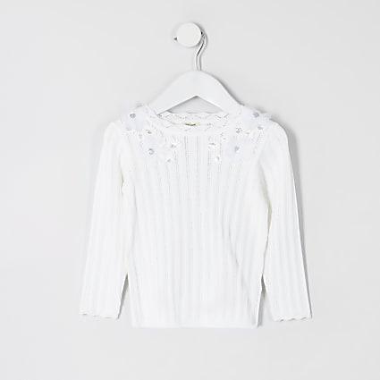 Mini girls white flower embellish knit top