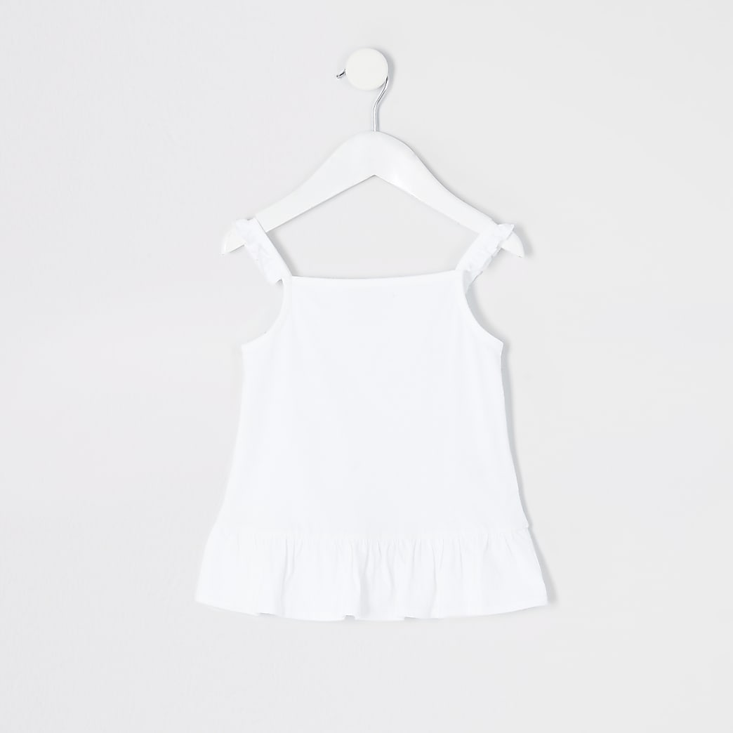 Mini girls white frill cami top