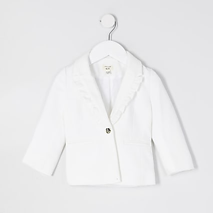 Mini girls white frill collar detail blazer