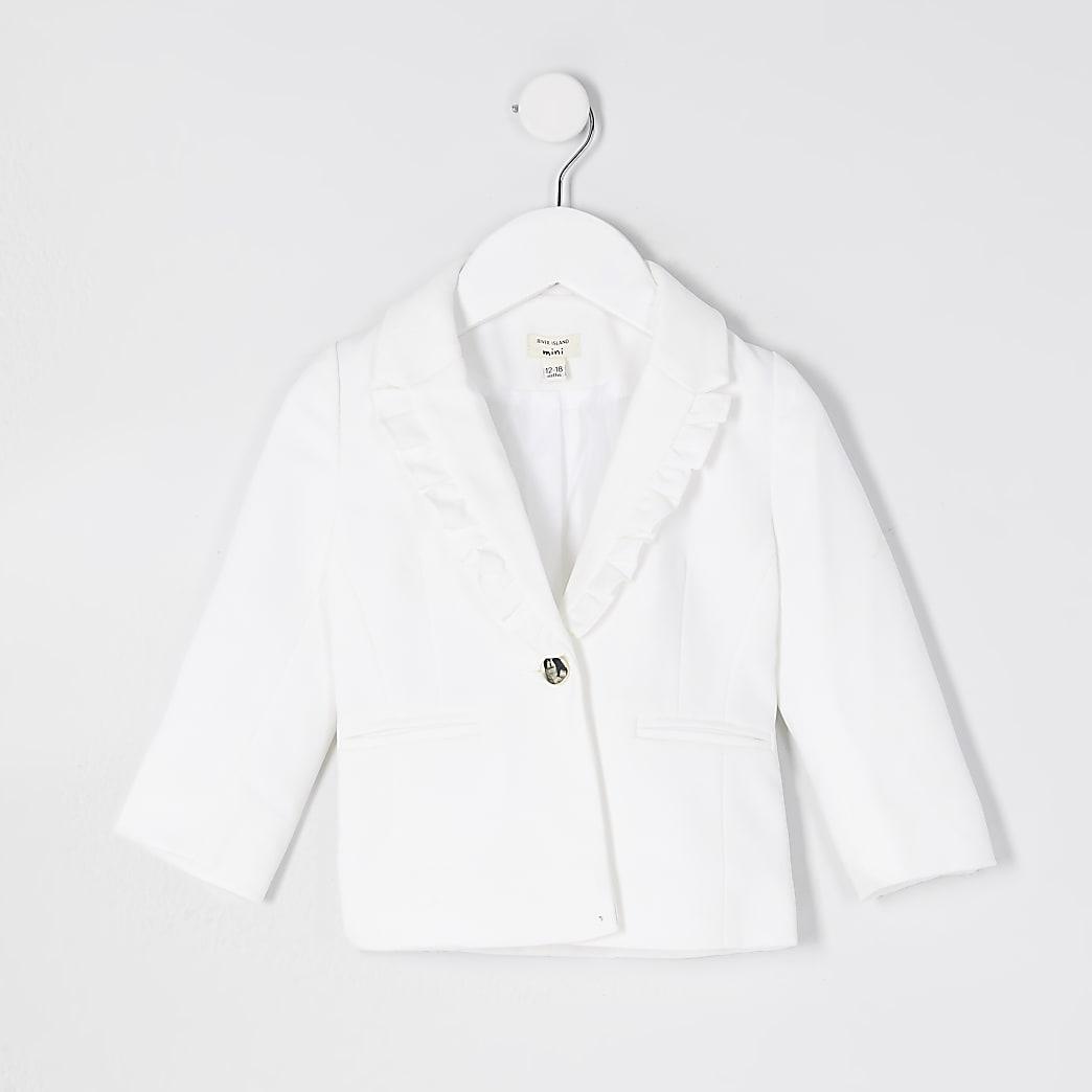 Mini girls white frill collar detail blazer