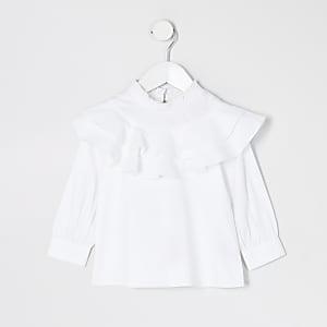 Weißes Popelin-Oberteil mit Rüschem am Ausschnitt für kleine Mädchen