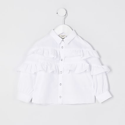 Mini girls white frill detail shirt