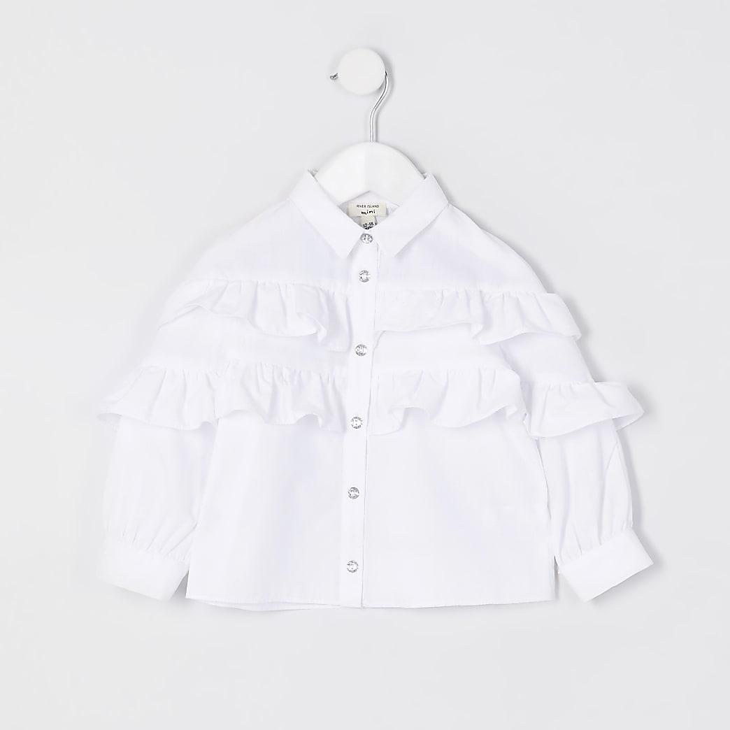 Mini girls white frill detail shirt