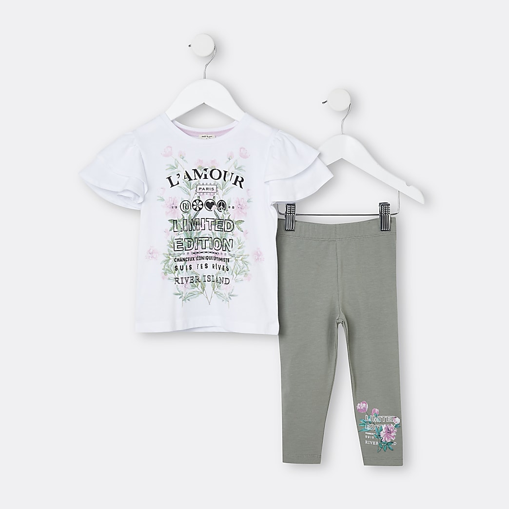 Mini girls white frill floral t-shirt outfit