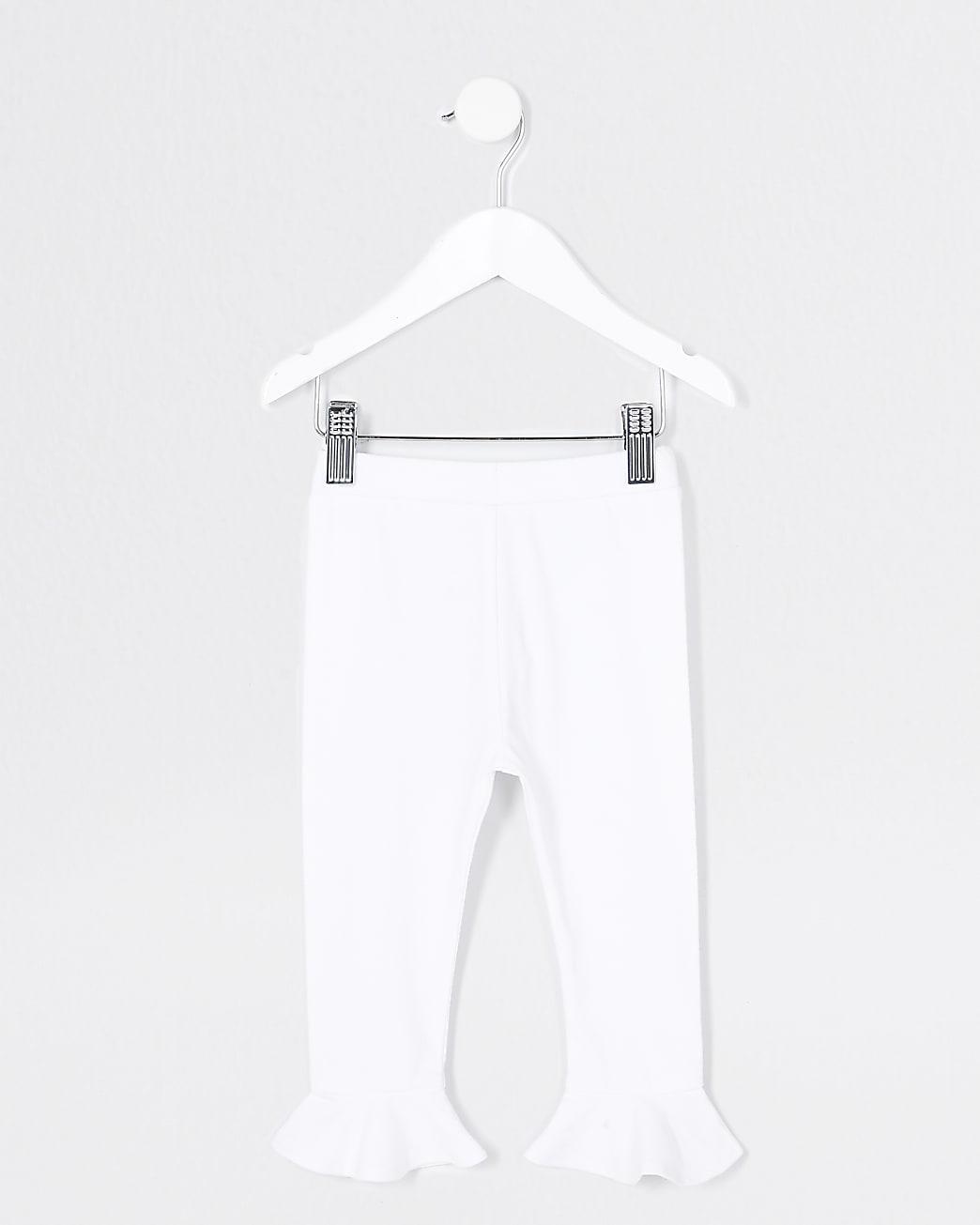 Mini Girls white frill hem leggings