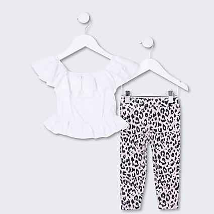 Mini girls white frill top and leggings set
