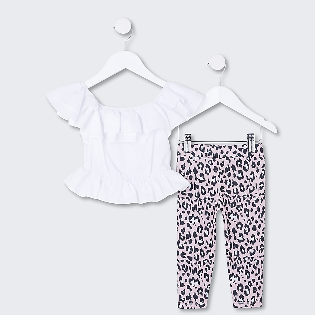 Mini girls white frill top and leggings set