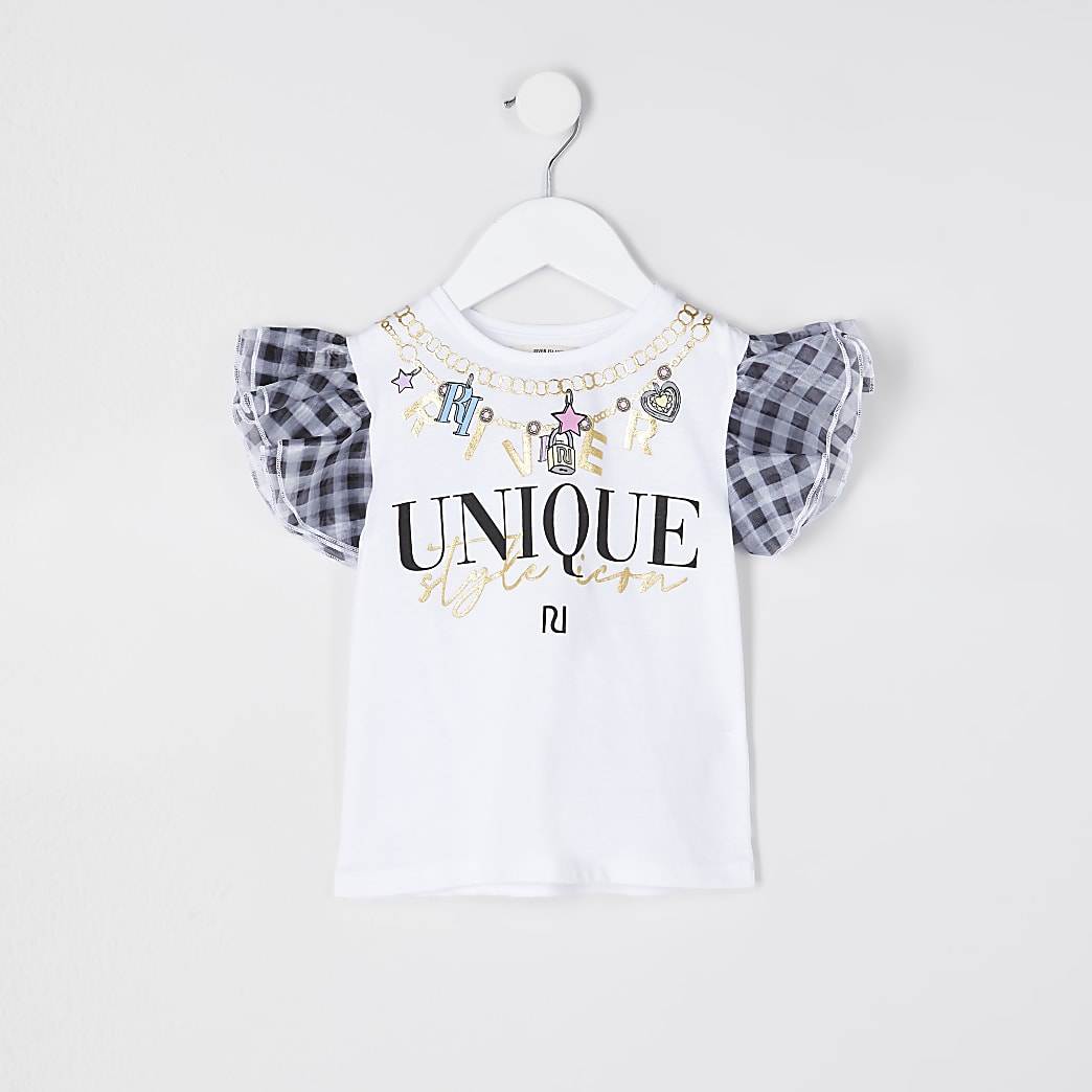 Mini girls white gingham organza t-shirt
