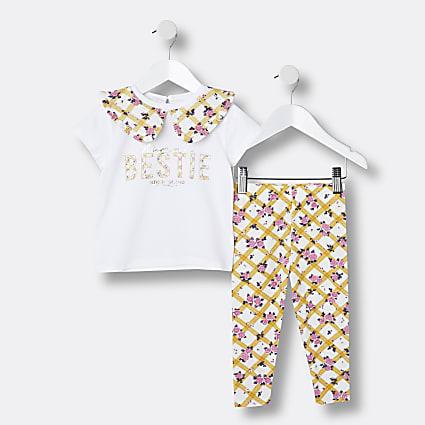 Mini girls white gingham print t-shirt outfit