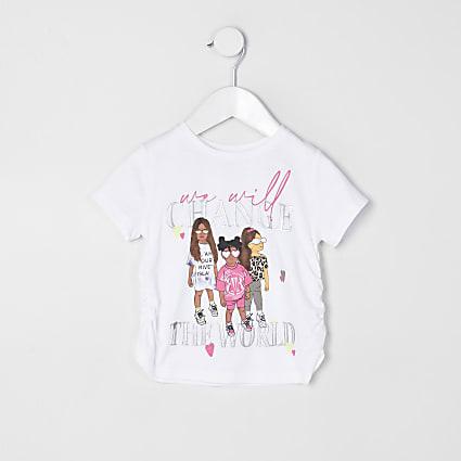 Mini girls white girl graphic ruched t-shirt