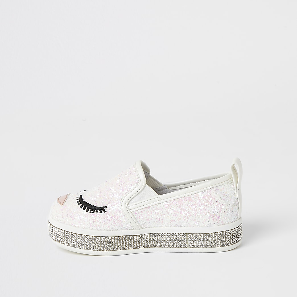Mini girls white glitter face embellish shoes