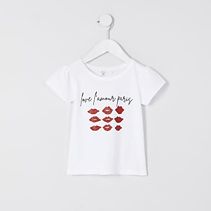Mini girls white glitter lips t-shirt
