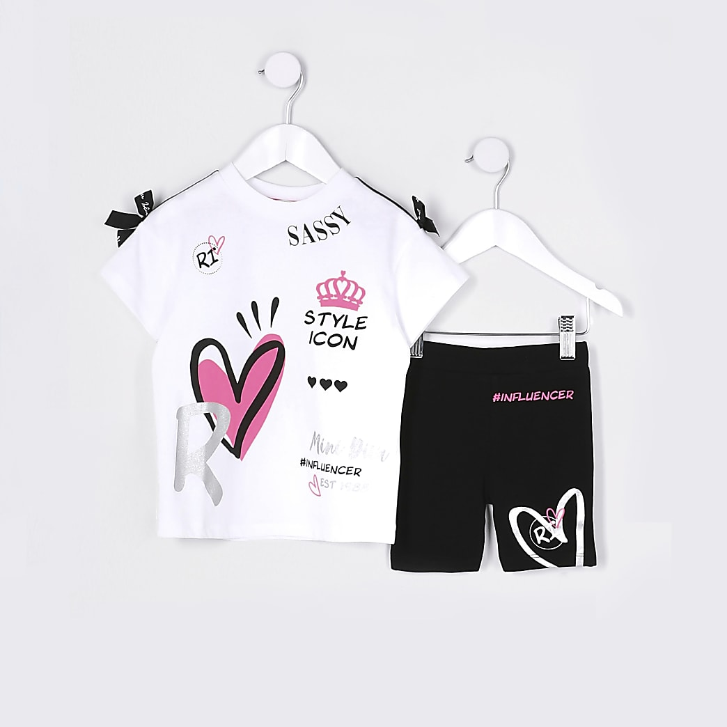 Mini girls white graffiti t-shirt outfit