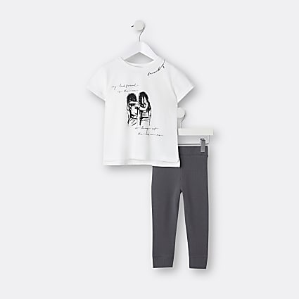 Mini girls white graphic print t-shirt outfit