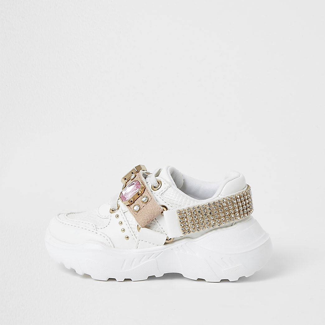 Mini girls white harness chunky trainers