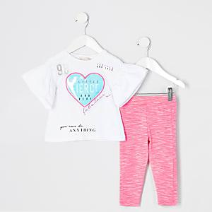 Mini – Outfit mit T-Shirt in Weiß mit Herzmotiv