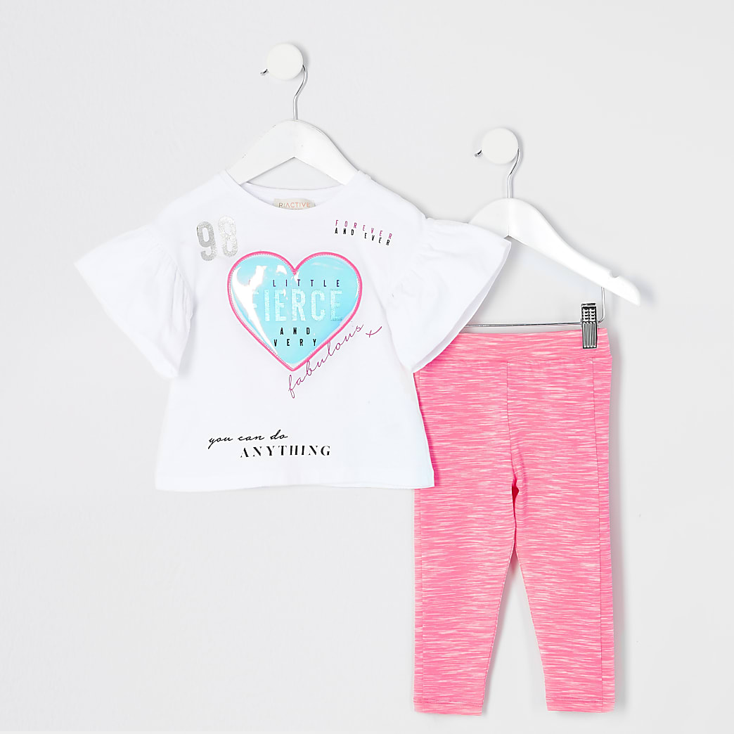 Mini girls white heart printed T-shirt outfit