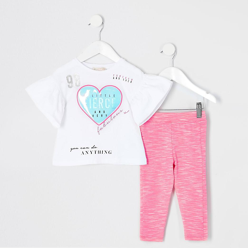 Mini - Witte outfit met T-shirt met hartprint voor meisjes
