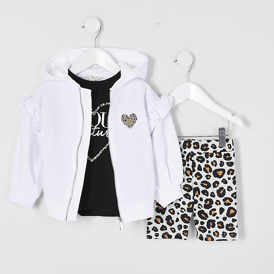 Mini girls white hoodie 3 piece outfit