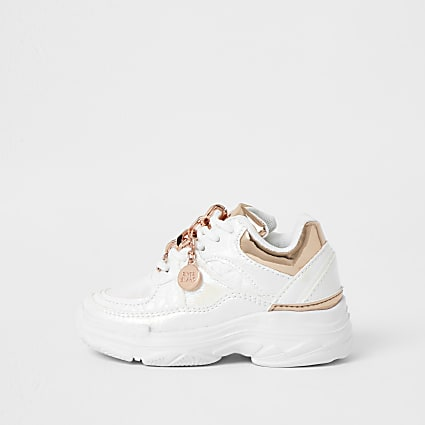 Mini girls white iridescent chunky trainer