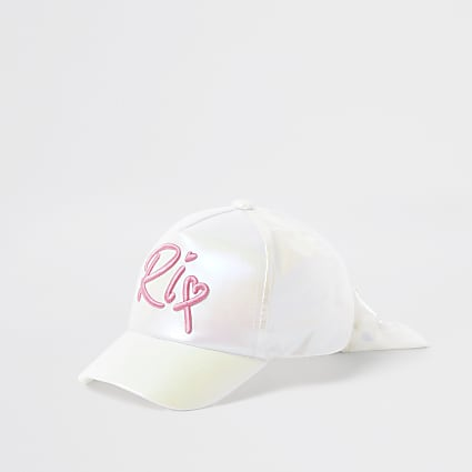 Mini girls white iridescent embroidered cap