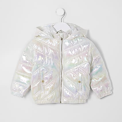 Mini girls white iridescent padded jacket