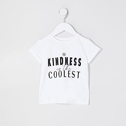 Mini girls white 'Kindness' t-shirt