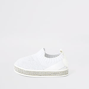 Baskets blanches en maille à strass mini fille