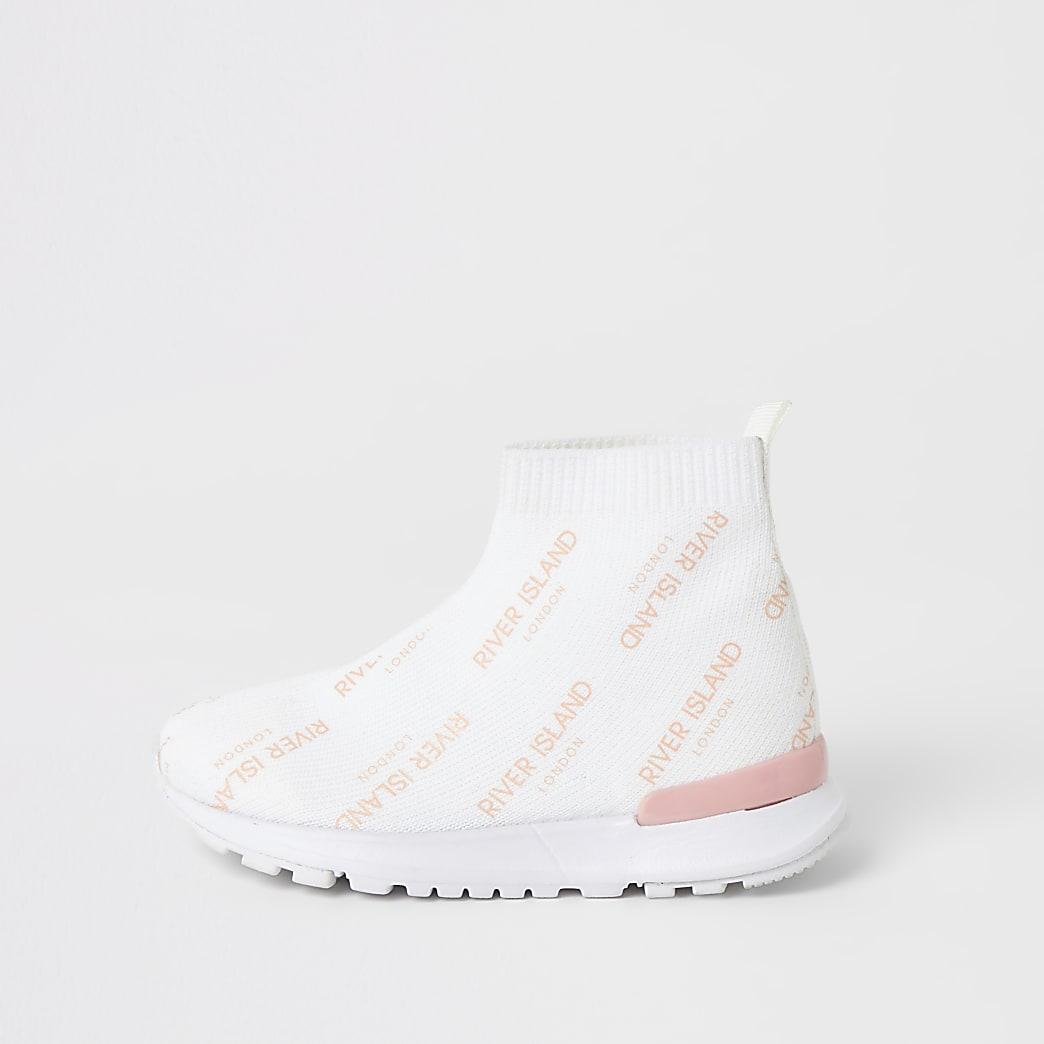 Mini – Weiße High-Top-Sneaker aus Strick für Mädchen