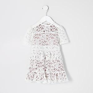Mini – Weißes Skaterkleid mit Spitze für Mädchen