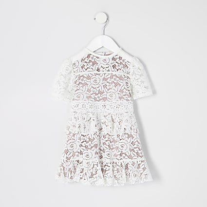 Mini girls white lace skater dress