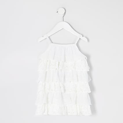 Mini girls white lace tiered frill cami dress