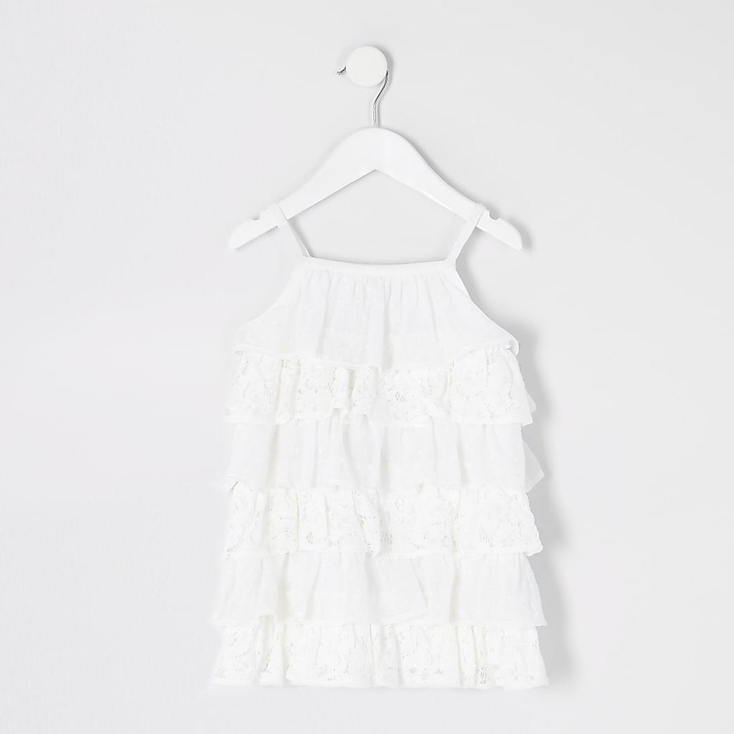 Mini girls white lace tiered frill cami dress