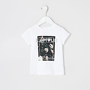 T-shirt blanc imprimé « l'amour » fleuri Mini fille
