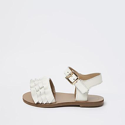 Mini girls white leather ruffle sandals