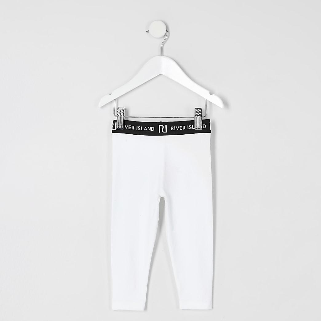 Mini girls white leggings