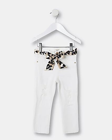 Mini girls white leopard belt Molly jeans