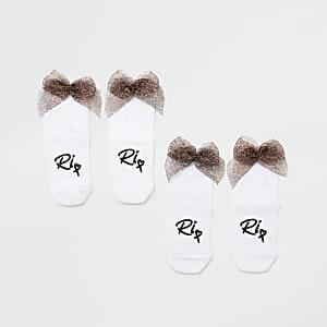 Mini girls white leopard bow back sock 2 pack