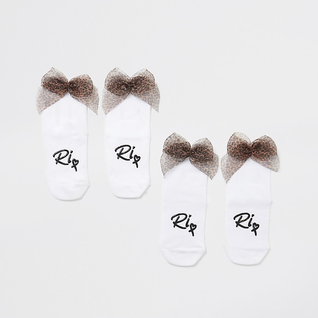 Mini girls white leopard bow back sock 2 pack