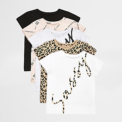 Mini girls white leopard print t-shirts 5PK