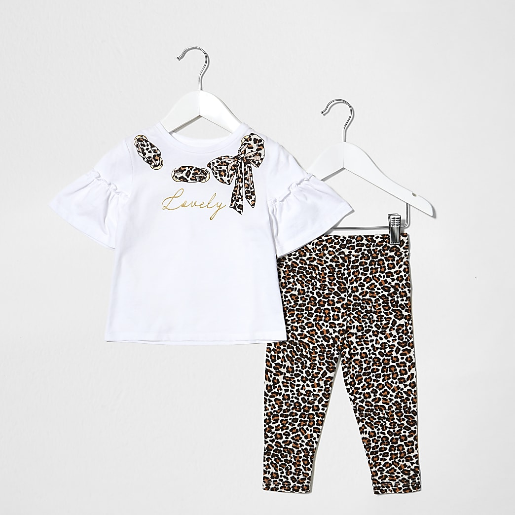 Mini girls white leopard printed bow set