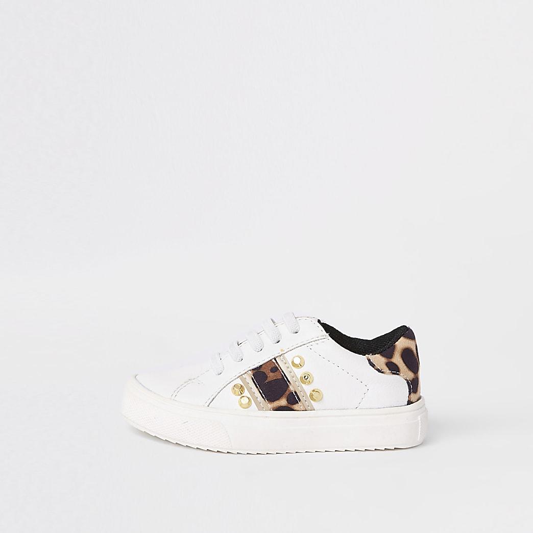 Mini - Witte sneakers met studs en luipaardprint voor meisjes