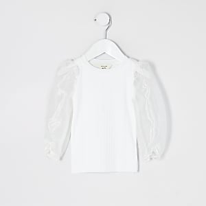 Mini girls white long organza sleeve top