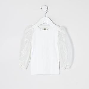 Mini – Weißes Oberteil mit langen Organza-Ärmeln für Mädchen