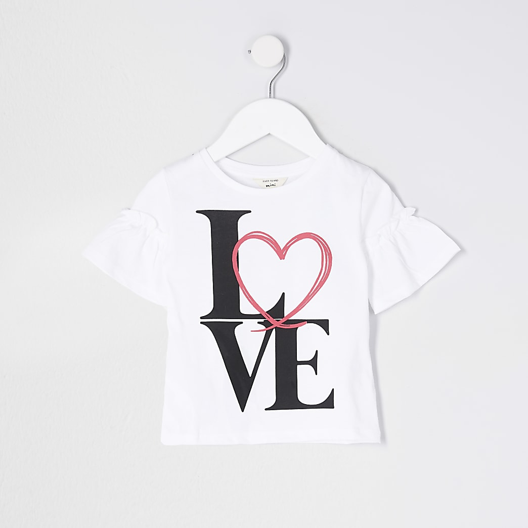 Mini girls white 'Love' print t-shirt