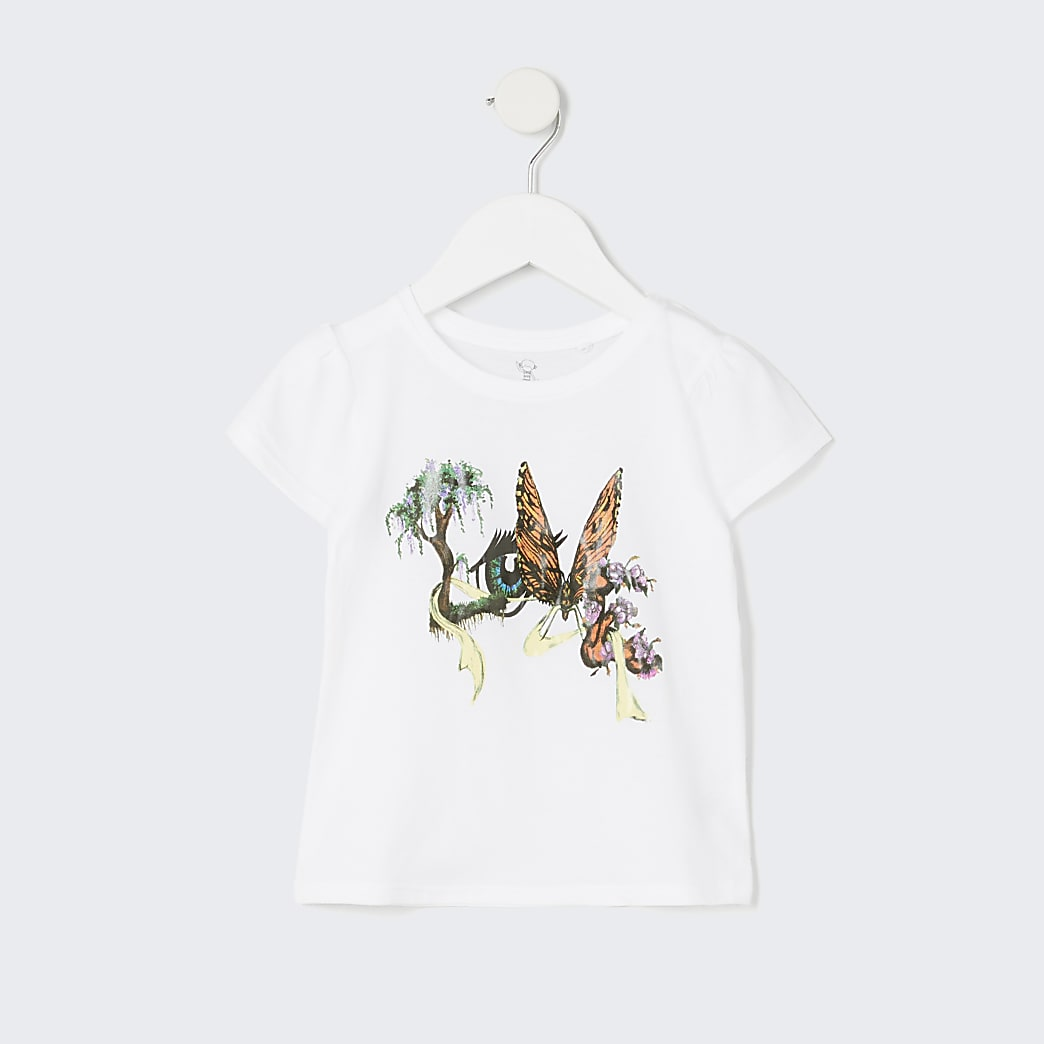 Mini girls white 'Love' printed t-shirt