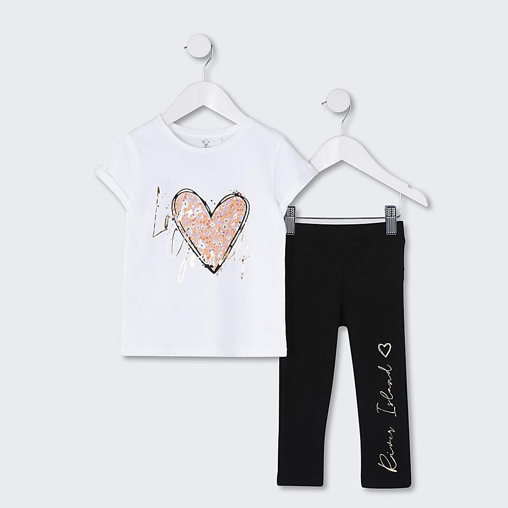 Mini girls white 'Love Yourself' t-shirt set