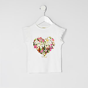 T-shirt à fleurs« lovely » blanc pour mini fille